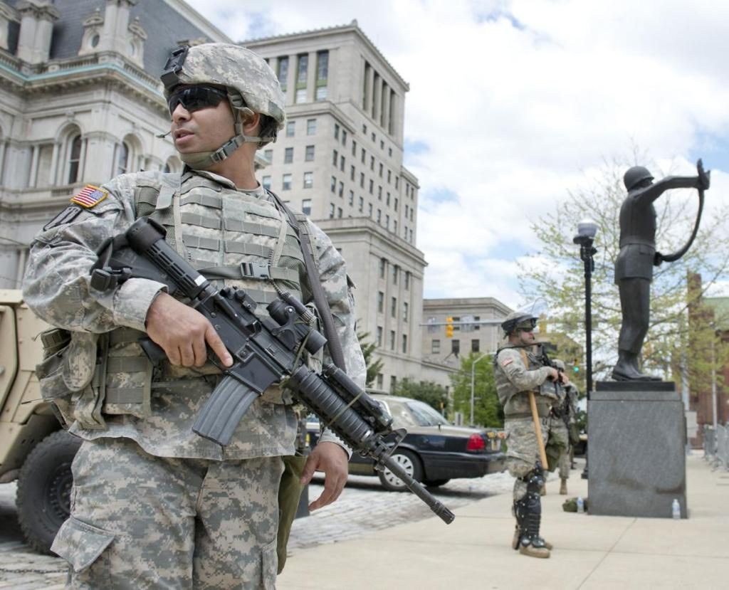 National Guard on the streets of Baltimore Maryland during the Freddie Gray riots of 2015